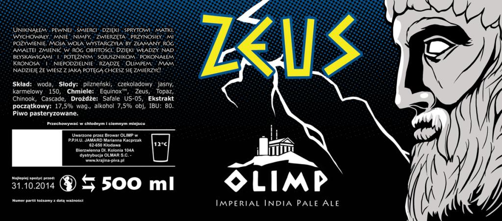Browar Olimp: etykieta Zeusa